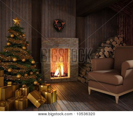 Rustic Hut´s Fireplace At Christmas