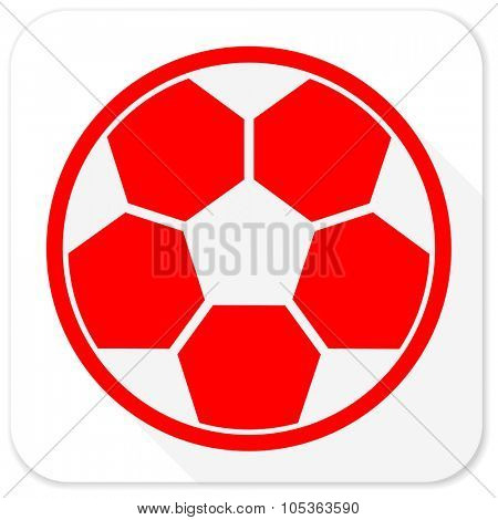 soccer red flat icon with long shadow on white background
