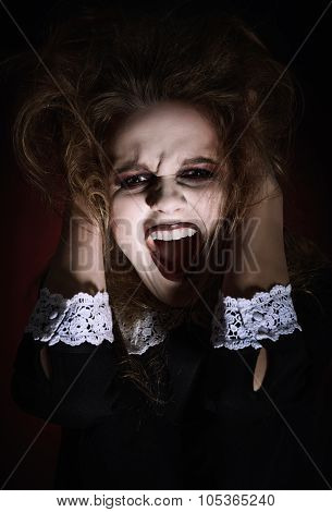 Closeup Portrait Of Scared Screaming Young Girl