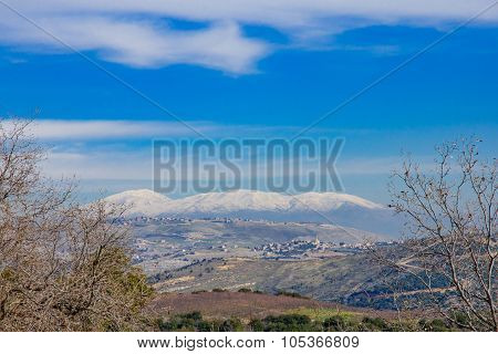 Hula Valley And The Hermon Mountain Range