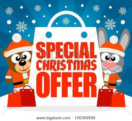 Special Christmas Offer card with bear and rabbit