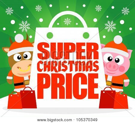 Super Christmas Price card with bull and pig