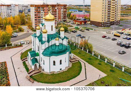 Church in Tura residential district.Tyumen. Russia