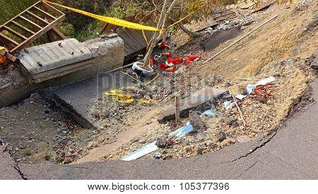 Damage From A Landslide