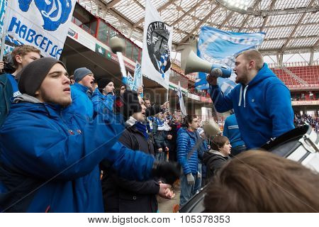 RUSSIA, MOSCOW- NOV 02, 2014: Drummer fan of Dinamo on grandstand of Locomotive stadium during game between Dinamo and Locomotive.