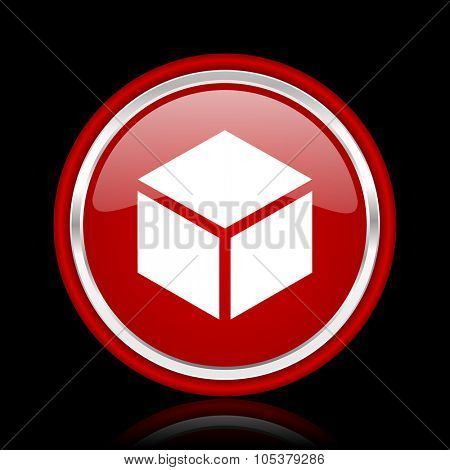 box red glossy cirle web icon on black bacground