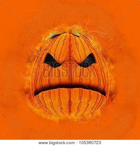 Grunge Halloween background with an evil pumpkin