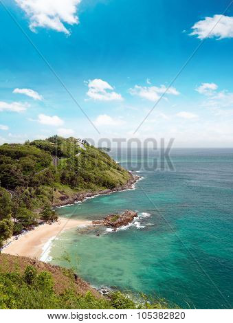 Beaches and coastline of sea near Phuket, Thailand at summer