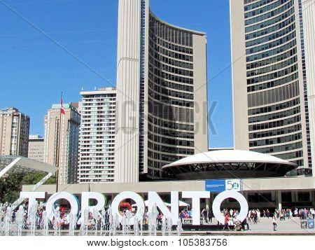 TORONTO, CANADA - September 15, 2015: Nathan Phillips Square and City Hall on September 15, 2015 in Toronto, Canada