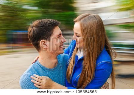 Young smiling couple autumn