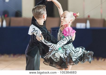 Minsk, Belarus -september 26, 2015: Degilevich Artem And Golub Kseniya Perform Juvenile-1 Latin-amer