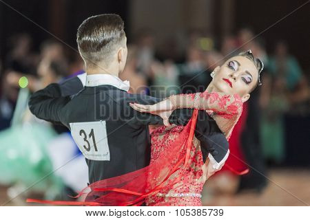 Minsk, Belarus-september 26, 2015: Adamovskiy Vladislav And Valashimas Stefaniya Perform Juniors-2 S