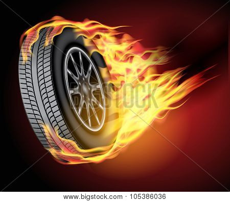 Car Wheel In Fire
