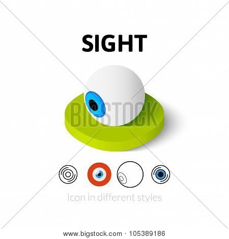 Sight icon, vector symbol in flat, outline and isometric style poster