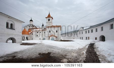 Alexander-Svirsky Orthodox monastery in winter, the town of Lodeynoye Pole, north of Russia poster