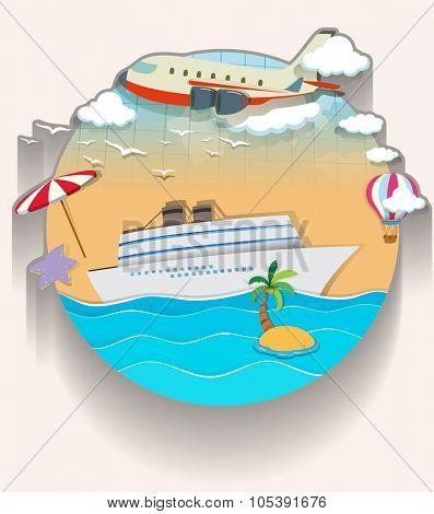 Travel theme with cruise and airplane illustration
