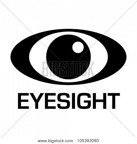 Black and white eyesight logo with simple illustrated design
