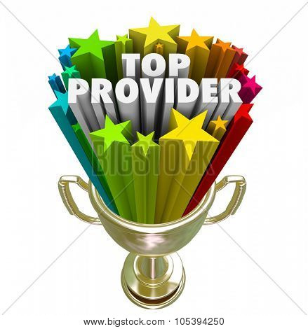 Top Provider words in 3d letters and stars in a golden trophy, prize or award for best doctor, medical care practitioner or insurance company poster