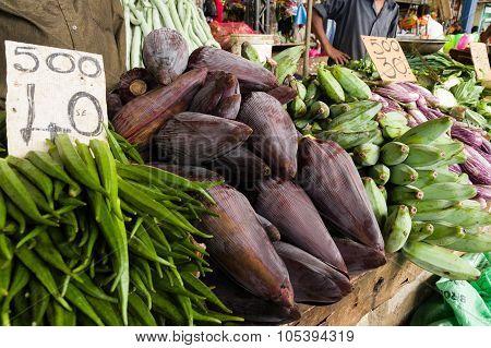 Tropical Vegetables At A Market
