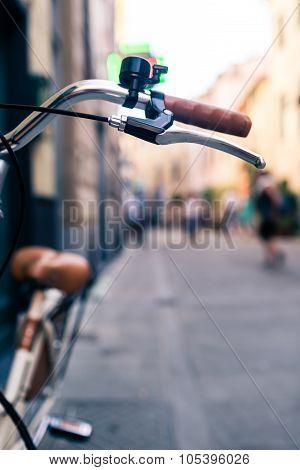 City Bicycle Handlebar, Bike Over Blurred Beautiful Bokeh Background