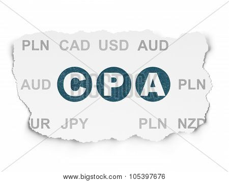 Business concept: CPA on Torn Paper background