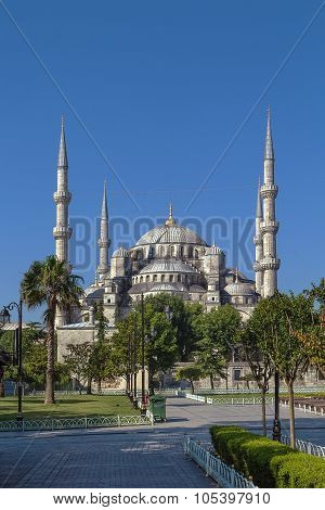 The Sultan Ahmed Mosque known as the Blue Mosque is an historic mosque in Istanbul. View from Sultan Ahmed square poster