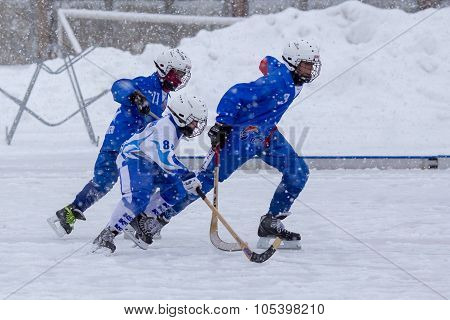 RUSSIA, KOROLEV - JANUARY 15, 2015: 3-d stage children's hockey League bandy, Russia