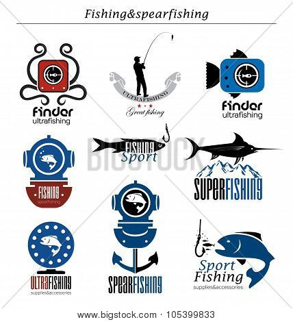Collection the fishing  logo and emblem.