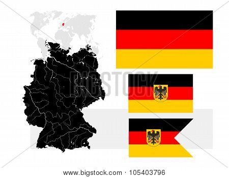 Map Of Germany With Lakes And Rivers And Three German Flags.