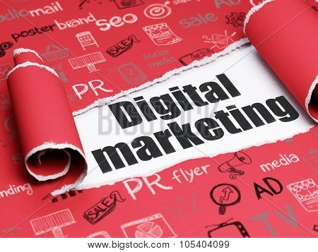 Marketing concept: black text Digital Marketing under the piece of  torn paper