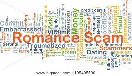 Background concept wordcloud illustration of romance scam