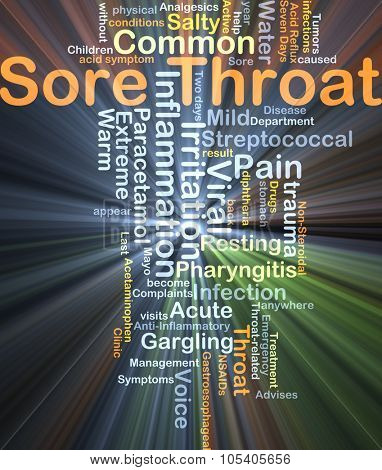 Background concept wordcloud illustration of sore throat glowing light poster
