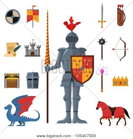 Medieval kingdom legendary armored knight warrior with lance and attributes flat icons set abstract isolated vector illustration poster