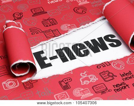 News concept: black text E-news under the piece of  torn paper