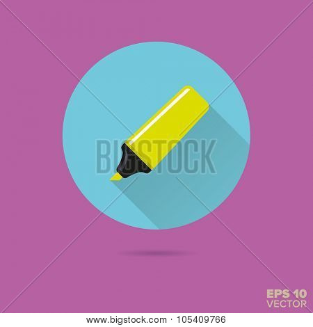 neon colored highlighter flat design vector icon