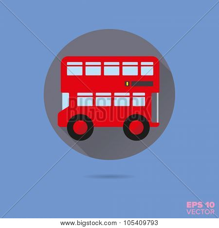 red doubledecker bus flat design vector icon