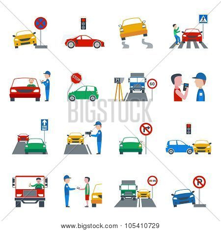 Traffic Violation Icons Set
