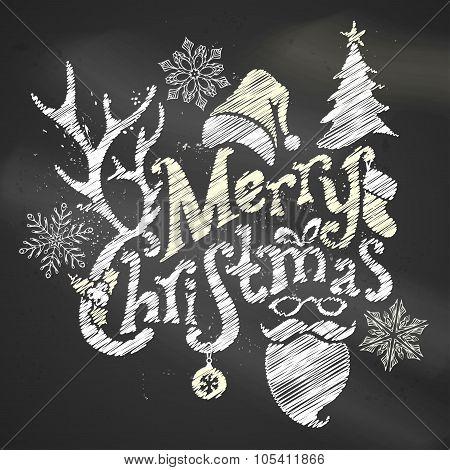 Chalk Merry Christmas Design.