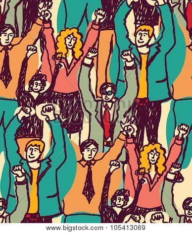 Crowd happy business people seamless pattern