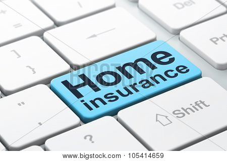 Insurance concept: Home Insurance on computer keyboard background