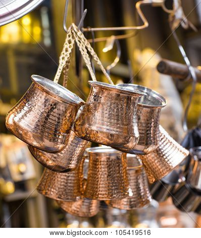 copper utensils for coffee in the bazaar , Istanbul