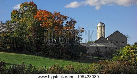 Rural Farmhouse In Autumn