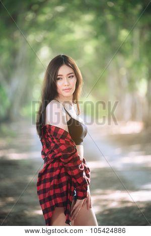 asia thai underware girl model on green background