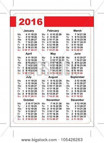 2016 pocket calendar. Template grid. Vertical orientation of days of week