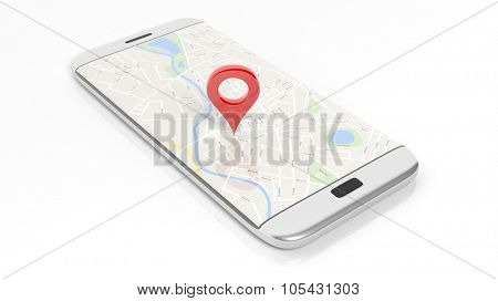 Smartphone with map and red pinpoint on screen, isolated on white background.