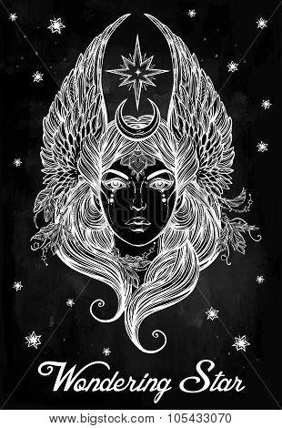 Beatuful woman as a Star diety or Tarot card.