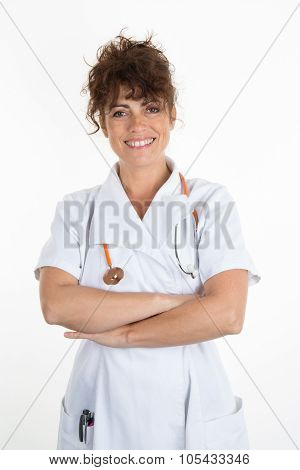 Female Nurse With Stethoscope  Crossed Arms Isolated