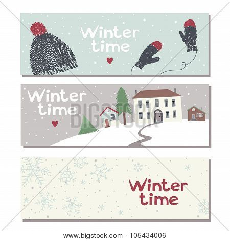 Set of three website horizontal winter banners
