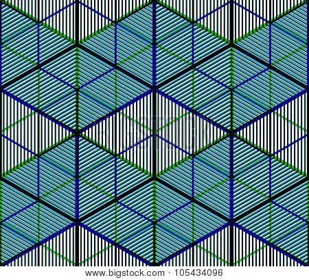 Bright Illusory Abstract Geometric Seamless Pattern With 3D Geometric Figures. Vector