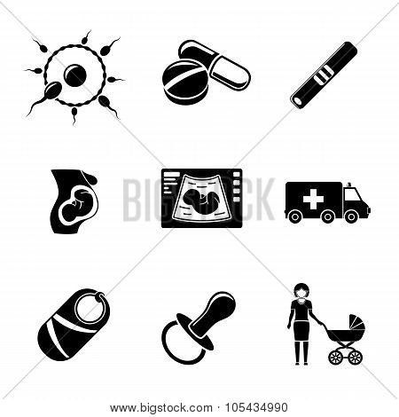Set of PREGNANCY icons with - egg and sperm, pills, test, womb, ultrasound, ambulance car, child, ni
